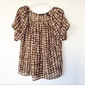 New York & Company Circle Pattern Top Brown Small